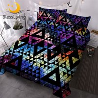 Wholesale galaxy bedding resale online - BlessLiving Colorful Bedding Set Geometric Comforter Cover Watercolor Galaxy Bed Set Waves Camouflage Home Textiles