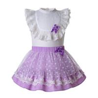 flores de malla para las vendas de la cabeza al por mayor-Pettigirl Summer 2PCS Púrpura con forma de corazón Ropa de niña de flores con camisa blanca + Falda púrpura con diadema G-DMCS112-B483