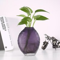Wholesale decoration vases for weddings tables resale online - Purple Glass Vase Flower for Home Office Vase Home Decoration for Living Room Kitchen Table Wedding Party Gift