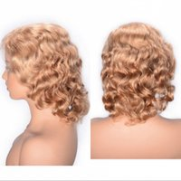 Wholesale wig curly 27 resale online - 27 Brazilian Hair Lace Front Wigs High Quality Free Part Short Human Hair Curly Lace Wigs with Baby Hair