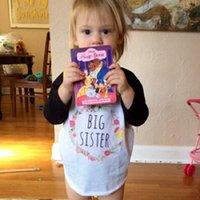 ropa de hermana mayor al por mayor-4 estilos Las niñas del bebé rematan la camiseta de manga larga para niños ropa moda patrón floral carta BIG HERMANA niñas ropa