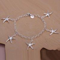 Wholesale brass bracelets sale resale online - Best gift hot sale Sterling Silver fashion jewelry Starfish charms bracelet