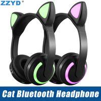 ingrosso sony lampeggia-ZZYD Cat Ear cuffie Bluetooth pieghevole lampeggiante incandescente LED auricolari per iPhone Xs X 8 telefono cellulare Samsung