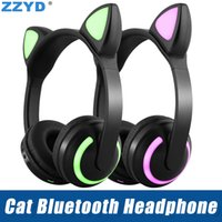 Wholesale white cat ears iphone resale online - ZZYD Cat Ear Foldable Bluetooth Headphone Flashing Glowing LED Earphones for iPhone Xs X Samsung Cell Phone