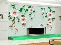 ingrosso fiori di vite di farfalla-WDBH photo personalizzato 3d carta da parati moderna del fiore di modo della vite butterfly background soggiorno arredamento murali 3d Tappezzeria per le pareti 3 d
