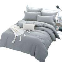 baumwoll-doppel-bettbezug-sets großhandel-Graue Farbe Bettbezug-Sets für Einzel-Doppelbett Kinder Erwachsene 6 Größen 100% Baumwolle Bettwäsche-Sets XF644-4