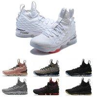 lüks koşu ayakkabıları toptan satış-2019 Lüks Yüksek Kalite Yeni külleri Hayalet lebron 15 Basketbol Ayakkabı Geliş Sneakers 15'ler Mens çalışan spor Açık Tasarımcı Ayakkabı