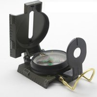 Wholesale military compasses for sale - Group buy Portable Folding Lens Compass American military outdoor multi purpose metal genuine compass off road camping hiking pointing compass LJJZ488
