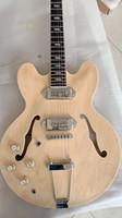 guitarra esquerda da china venda por atacado-Canhoto semi oco Casino corpo da guitarra elétrica Natural cor de madeira guitarra China Lefty