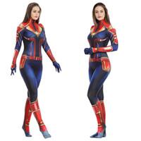 niños disfraces de superhéroes niñas al por mayor-Capitán Marvel Disfraces de cosplay para niños Ropa de superhéroe para adultos Niñas Traje de fiesta de una pieza Ropa para niños