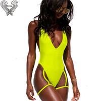 xl tanga tek parça mayolar toptan satış-Neon Tanga Mayo Tek Parça Tanga Mayo Kadın Yüzme Kadın Dalma Mayo Plavky Bather Monokini Sigortalı Q190525