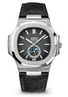 montres en cuir véritable achat en gros de-Nouveau luxe hommes Montre Hommes Automatique Automatique Vent Mécanique montres horloge noire Reloj Hombre Nautilus Réel En Cuir de Vachette Montre-Bracelet