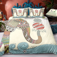 Wholesale tattoo king for sale - Group buy Tattoo Elephant Bedding Set King Size Cartoon Beige Duvet Cover Indian Queen Single Double Full Twin Bed Cover with Pillowcase