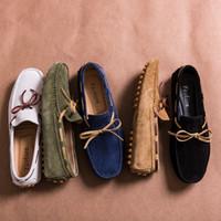 deri ayakkabılar kadar erkekler dantel toptan satış-Tasarımcı Süet Deri Lace Up Erkekler Rahat Ayakkabılar Yüksek Kaliteli Yumuşak Erkek Loafer'lar Moccasins İtalyan Moda Sürüş Ayakkabı Büyük Boy MX190713