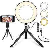 suporte de tripé para celular venda por atacado-Anel de luz LED com tripé, mini-vídeo com suporte de telemóvel LED de secretária com 3 modos de luz e 11 níveis de luminosidade (6