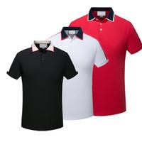 ingrosso polo di lusso uomini-2019 Europa di lusso Parigi patchwork uomo Tshirt Moda Mens Designer T Shirt Casual Uomo Abbigliamento medusa Cotton Tee polo di lusso