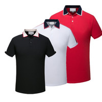 lüks erkekler polo toptan satış-2019 Lüks Avrupa Paris patchwork erkekler Tshirt Moda Erkek Tasarımcı T Gömlek Casual Erkek Giyim medusa Pamuk Tee lüks polo