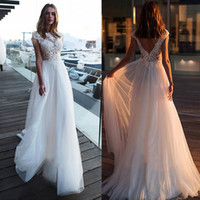 Wholesale short wedding dresses trains resale online - 2020 Gorgeous Wedding Dresses Appliqued Lace With Cap Sleeves Boho Bridal Gowns See Through Plus Size Cheap