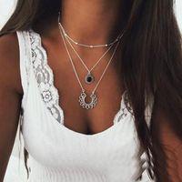 ingrosso collana della ragazza del fiore del pendente nero-Fiore Collana di cristallo multistrato collane Nero Waterdrop Ciondolo per le donne e le ragazze (tono argento)