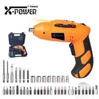 Wholesale battery powered plugs resale online - X power V MINI Electric Screwdriver Set EU Plug Chargeable Battery Operated Cordless Drill Power Tools LED Light For Home DIY
