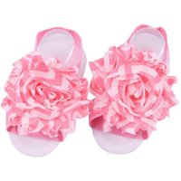 lindas sandalias de flores al por mayor-Cute Baby Girls Elastic Foot Flower Sandalia descalza de moda Casual, Party Flowers Set Kids Photography Props