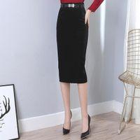 ince ince kalem etek toptan satış-Kış Uzun Kadife Etek Kadınlar Yüksek Bel Slim Fit Kılıf BODYCON Kalem Etek Siyah Büro Çalışması İş Kıyafetleri Midi Etekler