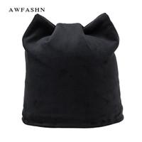Wholesale cat headgear resale online - Flannel Winter Hats For Women Beanies Soft Russia Skullies Lovely Girls Casual Stocking Hats Headgear Cat Ears Hat Ear Flaps Cap S18120302