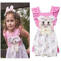 15ce7c05533 Baby Girls Pink Rabbit Print Romper Clothes Cute Newborn Summer Cotton Bow  Ruffle Suspender Jumpsuit Outfits Toddler Kids Sunsuit