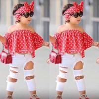 camisa de hombro niños al por mayor-Niños Ropa de verano para niñas Establece Off Top de hombro Camisa + Pantalones de agujero + Ropa para niñas Hairband conjunto Ropa para niños B11