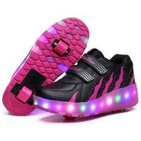 flaş silindirleri toptan satış-Heelys Yanıp Sönen LED paten Ayakkabı çocuklar Görünmez Çift Tekerlekler Erkek Kız Paten Aydınlık Ayakkabı Sneakers çizmeler