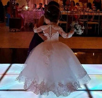 Wholesale images cute girls beautiful flower resale online - Beautiful Long Sleeve Ball Gown Princess Flower Girls Dresses Appliques with Beaded Stunning Cute Girls First Communion Pageant Gowns