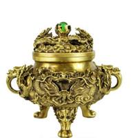ingrosso leone cinese in bronzo-NUOVA SCIA Statua bronzo leone da collezione S0836 Ottone cinese Rame Raffinato Mito Dragon Zodiac Bead bruciatore di incenso incensiere B0403