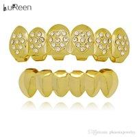ingrosso doni a forma di dente-Lureen Oro Argento Denti Grillz a forma di cuore di Bling Bling CZ 6 Top e denti inferiori impostazione dei limiti del corpo dei monili di Halloween regalo