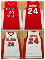 Wholesale sports fans team for sale - Group buy NCAA College Fresno State Bulldogs Paul George Jersey Men University Basketball Uniform Team Red Away White For Sport Fans