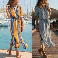 ofis rahat elbise çizgili toptan satış-Moda Şifon Gömlek Elbise Yaka Kısın Yaka Çizgili Baskı Uzun Kollu Ofis Bayanlar Elbise Casual Uzun Plaj Parti Elbise Vestidos