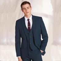 chaleco de novia de plata al por mayor-Los últimos nuevos pantalones Coat Diseños Hombres Traje formal de la boda de la chaqueta 3 Piezas novio esmoquin Slim Fit chaqueta para hombre con pantalones chaleco 560