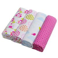 conjunto de lençol de bebê venda por atacado-100% Algodão Flanela Bebê Meninos Meninas Cobertor Swaddling Recém-nascido Cobertor Colorido Macio Do Bebê Lençol Conjunto De Cama