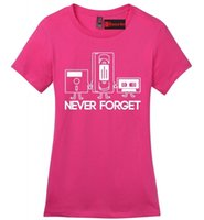 Wholesale forget gifts online - Never Forget Funny Ladies T Shirt Floppy Disc VHS Cassette Tech Geek Gift Z4Funny Unisex Casual top