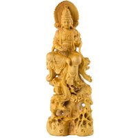 ingrosso statue di legno di buddha-18 cm in legno massello statua del Buddha Dea Occidentale budas legno boedha Feng shui statue bouddha statue di legno buda per la decorazione domestica