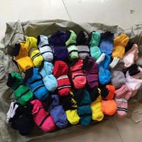 Wholesale cycling resale online - Pink Black Multicolor Ankle Socks Sports Cheerleaders Short Sock Girls Women Cotton Sports Socks Skateboard Sneaker Stockings