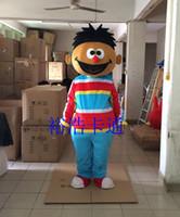 traje adulto de personagem unisex venda por atacado-Ernie Boy Traje Da Mascote Sesame Street Vestido Ternos Outfits Halloween Party Costume