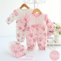 Wholesale cute vintage baby clothes for sale - Group buy Hot Cute Newborn Baby Girls Romper Winter Baby Girl Clothing Set Vintage Clothes Lace Floral Coat Toddler Layette Down Warm