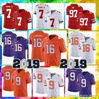 maillots de football américains achat en gros de-Hommes Clemson Tigers 16 Jersey de Trevor Lawrence NCAA 9 Travis Etienne Jr. Football américain College Wear
