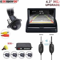 ingrosso monitorare i sensori di retromarcia posteriore-Koorinwoo Car Reverse Video Parking Radar 4 Sensor Rear View Camera Backup System Buzzer Alert for Car Foldable Monitor