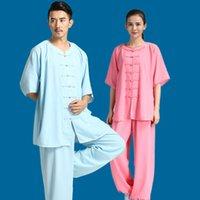 traditionelle chinesische kampfkünste kleidung großhandel-Traditionelle chinesische Kleidung für Männer KungFu Uniform Wushu Anzüge Frauen Martial Arts Taichi Kostüme Morgengymnastik Sportbekleidung