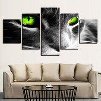 unterhaltung poster großhandel-5 Stücke Kombinationen HD coole schwarze katzen grüne augen Unterhaltung Ungerahmt Leinwand Malerei Wanddekoration Gedruckt Ölgemälde poster