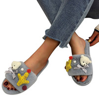 Wholesale bear bedding resale online - 2019 Women Warm Cute Solid Bear ShortPlush Soft Slippers Indoors Floor Bed Room Shoes for Casual Women Streetwear