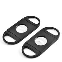 plastik purolar toptan satış-Cep Plastik Paslanmaz Çelik Puro Kesici Bıçak Çift Bıçakları Makas Tütün Puro Aracı ABS Siyah Puro Aksesuarları