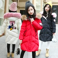 Wholesale warm girl winter coat pink resale online - Girls Winter Cotton Padded Coat Kids Thick Warm Hooded Jackets Kid Fashion Letter Print Winter Coats AAA1544