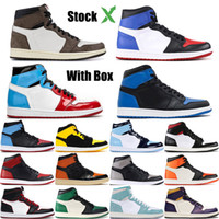 Wholesale black patent leather basketball shoes resale online - Top High OG court purple Basketball shoes Bred Toe Chicago Game Royal Mens s Shattered Backboard Sport Designer Sneakers Trainers